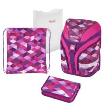 Herlitz Motion Pink Cubes  kockás iskolatáska - szett