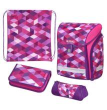 Herlitz Midi Pink Cubes  kockás iskolatáska - szett