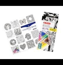 Felnőtt színező könyv 24 részes színesceruza készlettel