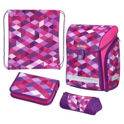 Herlitz Midi Plus Pink Cubes  kockás iskolatáska - szett