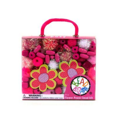 Bead Bazaar Virágos gyöngy csokor - pink
