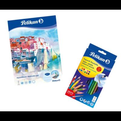 Akvarell színesceruza készlet és rajztömb